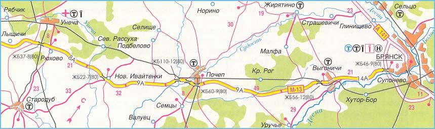 Атлас и карта схема трассы М-13 Брянск - Новозыбков - граница с Белоруссией - Гомель - Пересечение с трассой М-1.